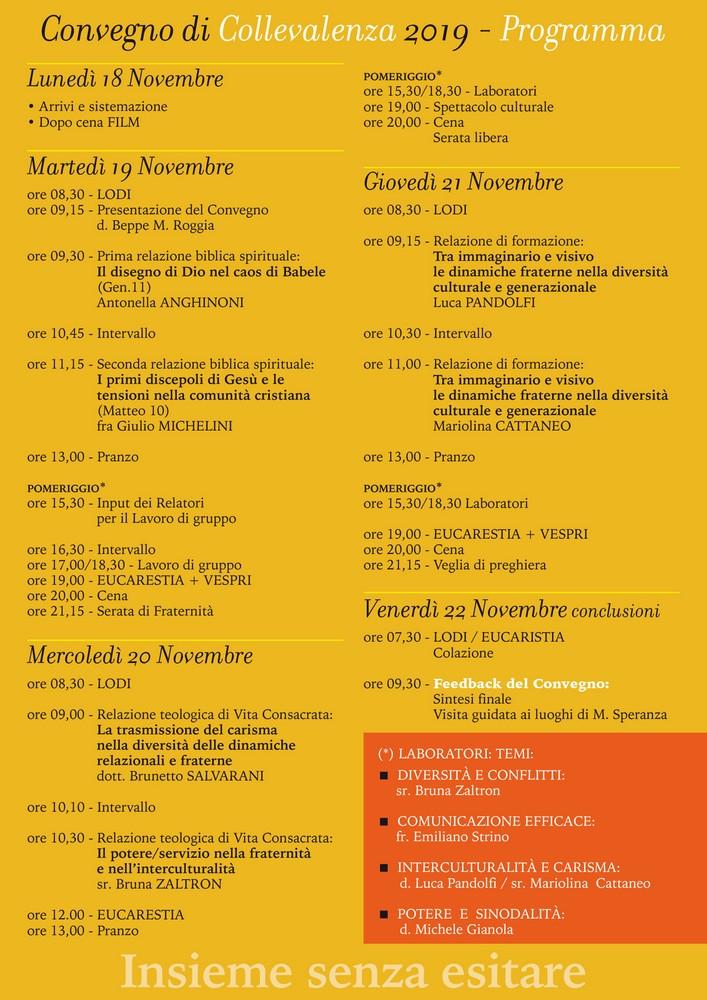 18-30 novembre 2019: INSIEME SENZA ESITARE