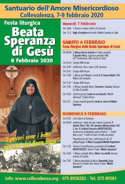 7-9 febbraio 2020: FESTA LITURGICA DELLA BEATA SPERANZA DI GESÙ