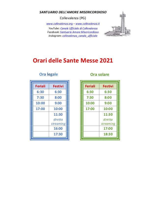 orari Sante Messe Santuario 2021