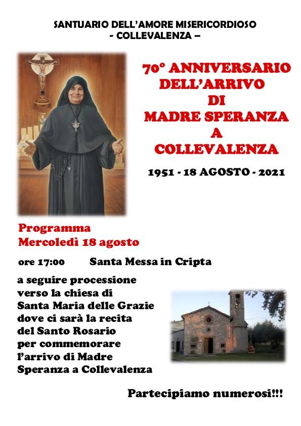 18 AGOSTO 2021: 70° ANNIVERSARIO ARRIVO MADRE SPERANZA A COLLEVALENZA locandina